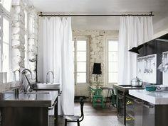 Curtain Room Dividers In Lofty Spaces | photo Andrea Ferrari | via Elle Décor | House & Home