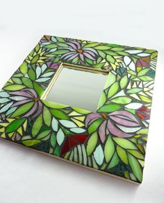 Mosaic Mirror Midnight Garden by glassetc on Etsy