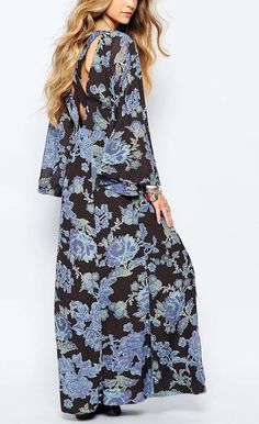 OB476323 Free People Dress Melrose Black and Blue Maxi Dress