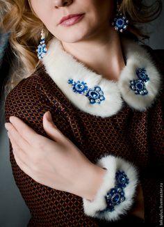 """Купить Воротничок колье """"Снегурочка"""" - белый, синий, бело-синий, русский стиль, воротничок, горжетка"""