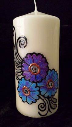 Holiday special Handpainted henna candles with blue by ArtbyMeena