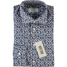 Blue Leaf Print Slim Shirt Shirt Outfit, Shirt Dress, Blue Leaves, Formal Shirts, Tk Maxx, Cuff Sleeves, Leaf Prints, Printed Shirts, Slim