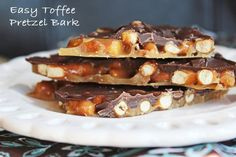"""Easy Toffee Pretzel Bark. The combination of sweet toffee goodness and the crunchy saltiness of the pretzels are a match made in candy heaven. This stuff is addicting with a capital """"A""""."""
