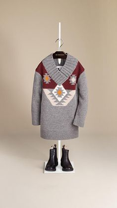 Geometric Wool Sweater Dress | Burberry