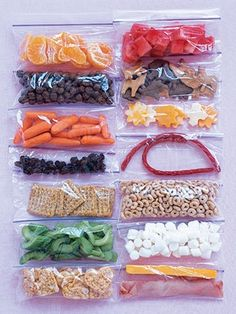 100 calorie snack pack ideas.  Love this idea, AND love how it shows how much you get to eat with different food choices… for 100 calories, you could have two twizzlers or a couple little cheese chunks or a TON of fruit/grain/veggies. That should show you right there what's the best choice for your body.