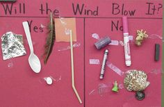 Wind Lesson- Students put items in front of a fan to see if the air moved them, or if they fell to the ground.