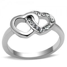 PR6260ZOC - Dve srdiečka - prsteň z chirurgickej ocele