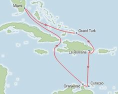 UPDATE: 2014-2015 Itineraries for Carnival Breeze 8 & 6 night Caribbean Cruises have changed from this 2013 pic: (Grand Turk, D.R., Curacao, Aruba) 4/27/2013