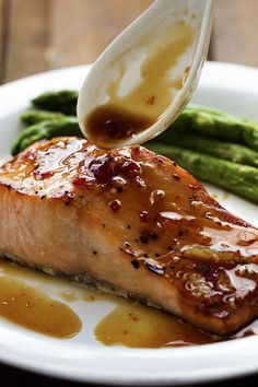 A five star salmon recipe with a delicious sweet chili garlic glaze on top. It caramelizes the salmon as it broils and will become an instant favorite!