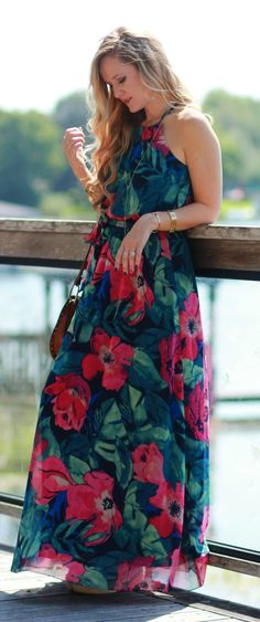 Tommy Bahama tropical maxi dress styled with a tassel crossbody for a perfect…