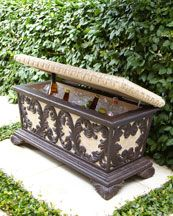 "Leaf Scroll Bench Cooler -   Lightweight & durable, easily moved to adapt to an ever-changing landscape. Bench opens to reveal a cooler. 36""W x 16""D x 18""T."