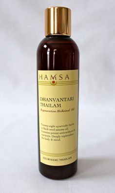 Dhanvantari thailam is a rich oil that smells like honey and earth. It is made with 28 different herbs, and named after Dhanvantari, ayurveda's most prominent sage. Because of its analgesic properties, it is traditionally used to rejuvenate the body after trauma or injury. Dhanvatari is especially useful for women to use after giving birth to replenish the physical and emotional body. $28 on Etsy