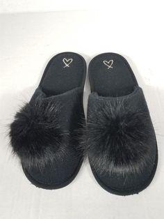3a84478b5b9a0c Victoria s Secret Black Pompom Slip-on Spa Slippers Size Medium EUC   fashion  clothing