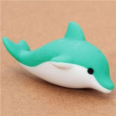 cute green dolphin eraser from Japan by Iwako 1 - We had this as a bath toy, but it kept separating in half so we got rid of it Cute Polymer Clay, Polymer Clay Animals, Cute Clay, Fimo Clay, Polymer Clay Charms, Clay Beads, Clay Projects, Clay Crafts, Fimo Kawaii