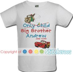 097fc30a A fun personalized cars Big Brother onesie or shirt!