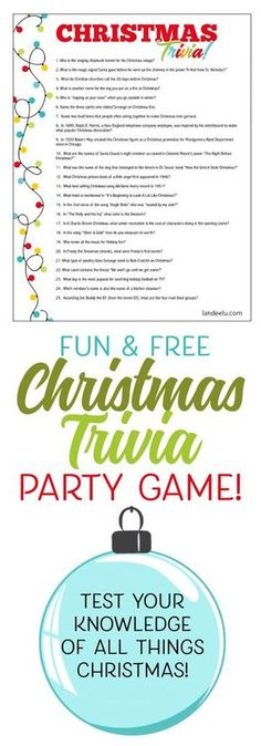 Christmas Trivia Game Perfect for Christmas Parties! Printable Fun TriviaYou can find Trivia and more on our website.Christmas Trivia Game Perfect for Christmas Parties! Fun Christmas Party Games, Xmas Games, Holiday Games, Xmas Party, Christmas Activities, Christmas Printables, Holiday Fun, Christmas Holidays, Christmas Parties