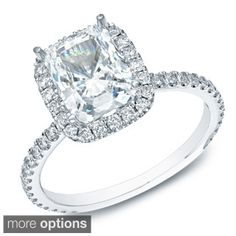 Shop for Auriya 14k Gold 1 1/2ct TDW Certified Cushion Diamond Engagement Ring (H-I, SI1-SI2). Get free delivery at Overstock.com - Your Online Jewelry Destination! Get 5% in rewards with Club O!