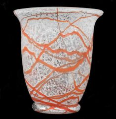 """Bell shaped Loetz Vase from the late 30s. \""""Schaumglas\"""" Date: Late 1930s Dimensions: H:15 cm Diameter: 13.5cm Colourless glass, strong cracked effect with sprinkings of pulverised white glass. Irregular \""""threading\"""" around the circumference of the vase.Colourless overlay, Smooth lip.  Lit: Lit: Lötz Böhmisches Glas 1880-1940, Band 2, Katalog der Musterschnitte, by Helmut Ricke, published by Prestel-Verlag Kat-Nr. 405 (form) Kat-Nr. 404(Decoration)"""