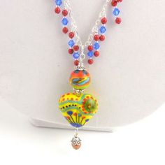 Multicolor Heart Pendant Necklace, Beaded Necklace, Lampwork Beads Necklace, Women's Jewelry by ramonahalljewelry for $75.00