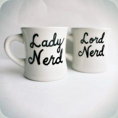Nerd coffee mug tea cup set couple anniversary by KnotworkShop, $25.00. I MUST GET THESE!!