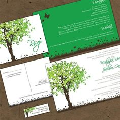 SUMMER SPLENDOUR CUSTOM WEDDING INVITATION SUITE WITH RSVP POSTCARDS & ADDRESS LABELS