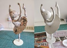 Amandadas Plus PlusCould do a base like that for a clay trumpetBuilding a paper mache figure. Paper Mache Projects, Paper Mache Clay, Paper Mache Sculpture, Paper Mache Crafts, Clay Crafts, Clay Art, Diy And Crafts, Sculpture Art, Clay Dolls