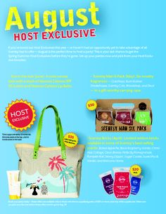 Did you miss out on the Scentsy Man 6-Pack, Scentsy Bricks, or Fun in the Sun canvas tote Host Exclusives this summer? Well, don't fret because August is the perfect chance to get the Spring/Summer Host Exclusives before they're gone! Host a qualifying party of $150 or more ($200 in Canada) and pick from your Host Exclusive faves! Only while supplies last!