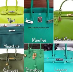 *Hermes Color Chart Greens*