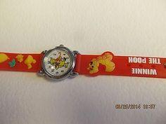 Winnie The Pooh Children Red Cartoon PVC Band Quartz Wrist watch Toy 208