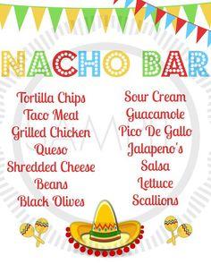 Fiesta / Taco / Cinco De Mayo / Taco Bar / by MyPrettyPartyShoppe - Shopkins Party Ideas Nacho Bar Party, Taco Party, Snacks Für Party, Parties Food, Sweet Sixteen, Fiestas Party, Party Fiesta, Mexican Party, Mexican Fiesta Food