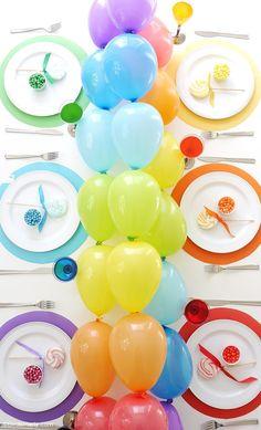 Rainbow Themed Tablescape & DIY Balloon Garland table Runner and Party Decor by BIrdsParty;com @BirdsParty