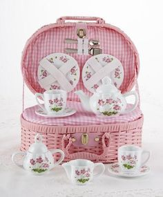Childrens Porcelain Girls Tea Set - Pink Floral in Wicker Style Basket This Childs Tea Set in Square Wicker Style Basket includes cute little forks and spoons to complete this lovely set she'll. Childrens Tea Sets, Tea Sets Vintage, Tea Pot Set, Pot Sets, Forks And Spoons, Decoration, Pink Flowers, Tea Party, Wicker