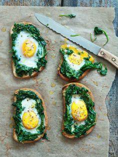 brusketta, spinach, eggs
