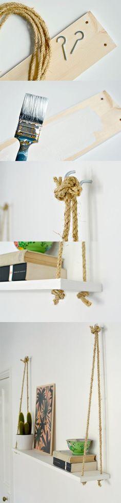Estantería con cuerdas y una tabla / Via www.burkatron.com: