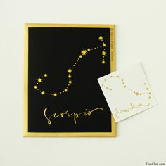 Shop Scorpio zodiac luxe greeting cards inspired by astrological signs featuring unique metallic gold constellation temporary Flash Tattoos!