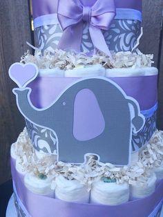 Lavendar Elephant Diaper Cake Elephant Diaper Cake 3 Tier