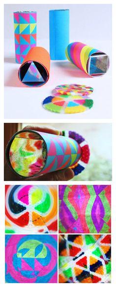 Kaleidoscopio para niños con tubos de cartón.
