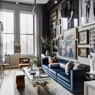 When he found his duplex apartment in a former printing plant in Manhattan's West Village neighborhood, Jordan Carlyle knew that its awkward proportions and limited light would be a challenge. The solution he devised entailed embracing the dark and enhancing the drama.