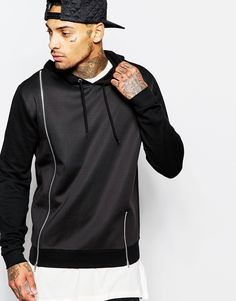 Image 1 of ASOS Overhead Hoodie With Scuba Front And Zips