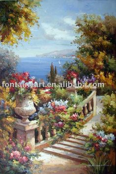 Handmade Impressionist French Ocean Flower Garden Landscape Oil Painting $110.00 - 170.00