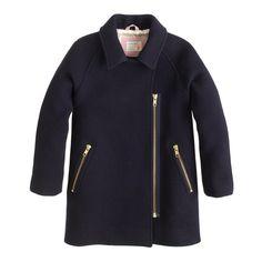 Stade-chiffon-zip asymétrique manteau de filles: la laine | J.Crew