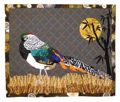 """""""Gifts From China"""", ~23 x 30"""", by Ann Myhre (Colorado).   Wildlife Fabrications exhibit, SAQA (sold). Inspired by her photo of a Lady Amherst's Pheasant."""