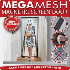 Magnetic Screen Door  Heavy Duty Mesh & Velcro Fits Doors... https://www.amazon.com/dp/B00LLF7ZRO/ref=cm_sw_r_pi_awdb_x_ObdSybQW1734R