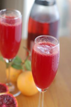 blood orange mimosas  equal parts blood orange juice and champagne  perfect for brunch on valentines day