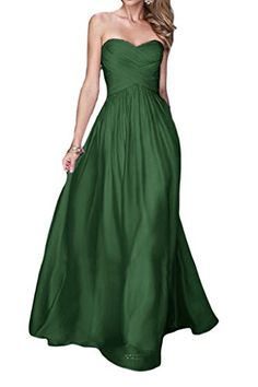 Promgirl House Damen Rein A-Linie Chiffon Abendkleider Ballkleider  Partykleider Festkleider Lang-32 Dunkelgruen