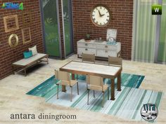 The Antara dining set, contains: table, chair, side table, bench, decorative clock, frames, cushions and carpet. All are new meshes and are in 2 different colors Found in TSR Category 'Sims 4 Sets'