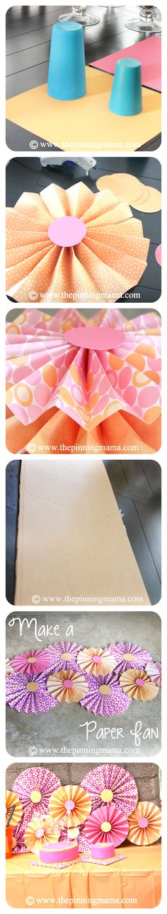 DIY Party Decor- How To Make A Paper Fan Backdrop | The Pinning Mama
