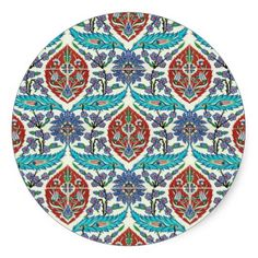Iznik Floral Tile, Red and Blue Round Stickers