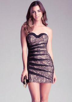 bebe Lucy Strapless Lace Dress