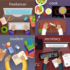 Student Freelancer, Secretary, Cook by robuart on Creative Market